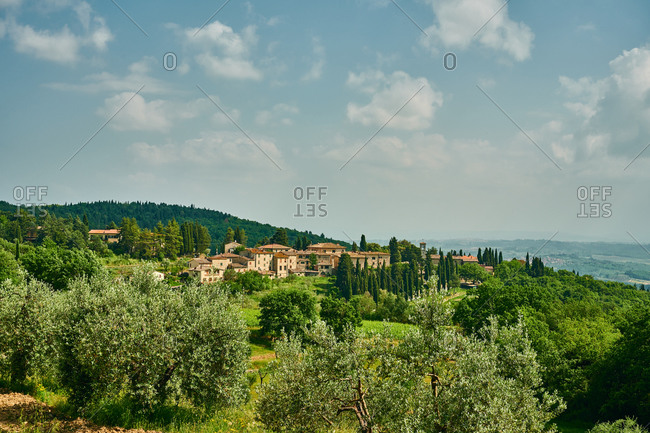 Old settlement surrounded by wood in Tuscany