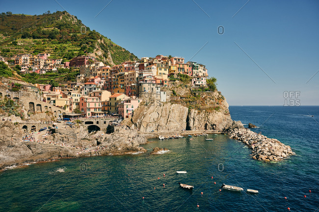 Idyllic European town at hilly seaside