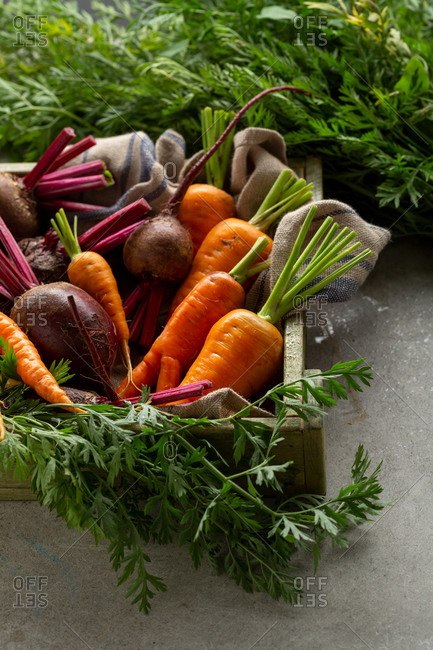 Harvest of beets and carrots in a crate
