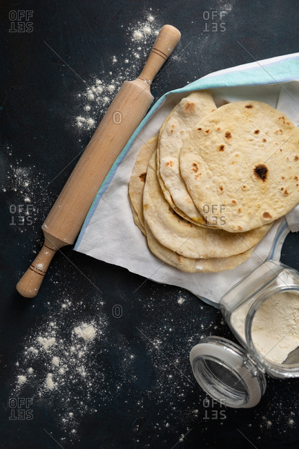 Overhead view of flat breads