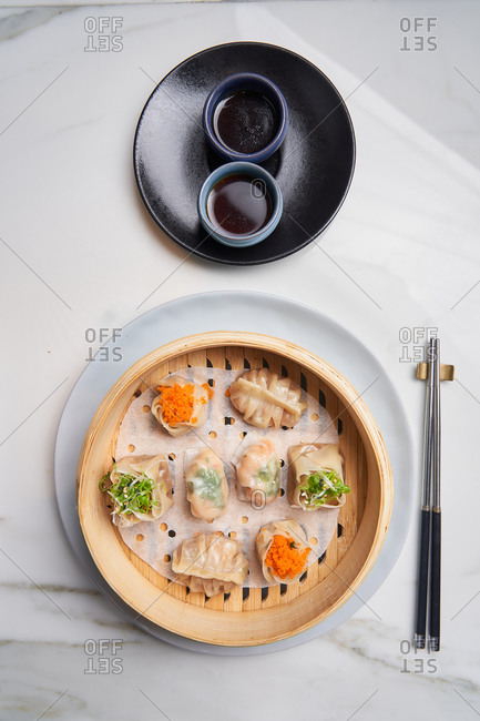 Overhead view of a traditional dim sum appetizer