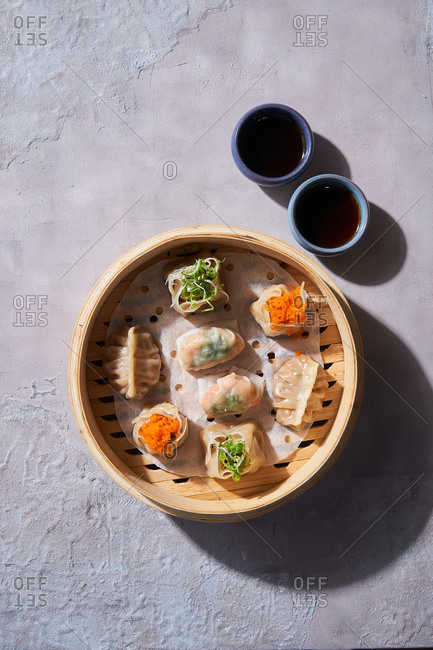 Top view of a traditional dim sum appetizer