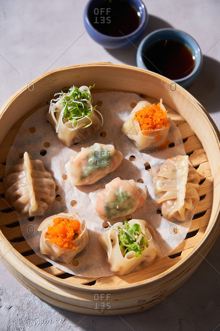 Close up of a traditional dim sum appetizer