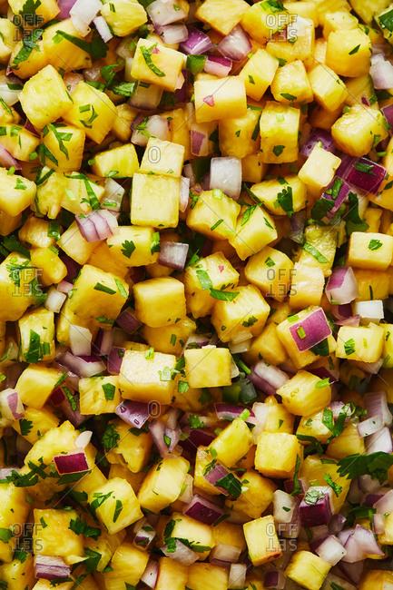 Pineapple salsa full frame