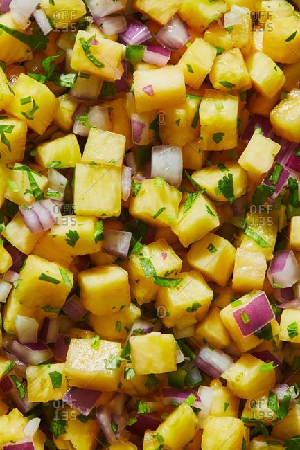 Close up of pineapple salsa full frame
