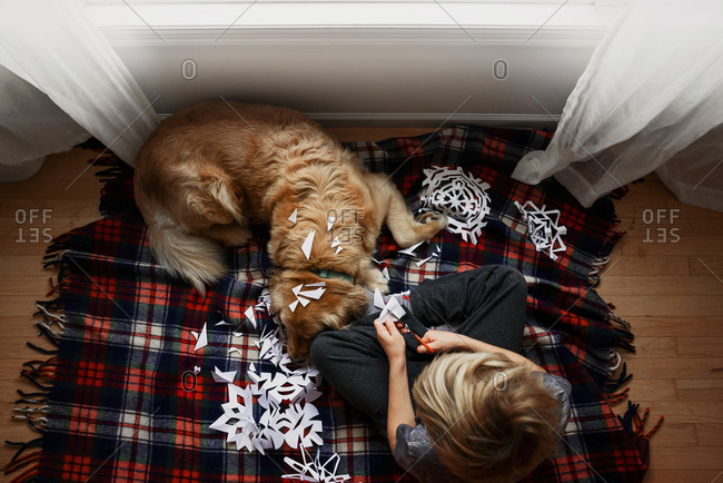 High angle view of young boy cutting snowflakes with a dog