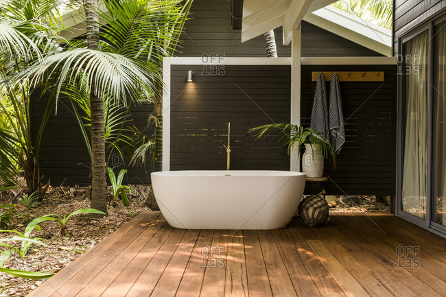 Soaker tub on deck of a spa