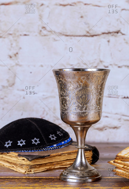 Religious Jewish objects, kiddush cup, kippah, matzoh