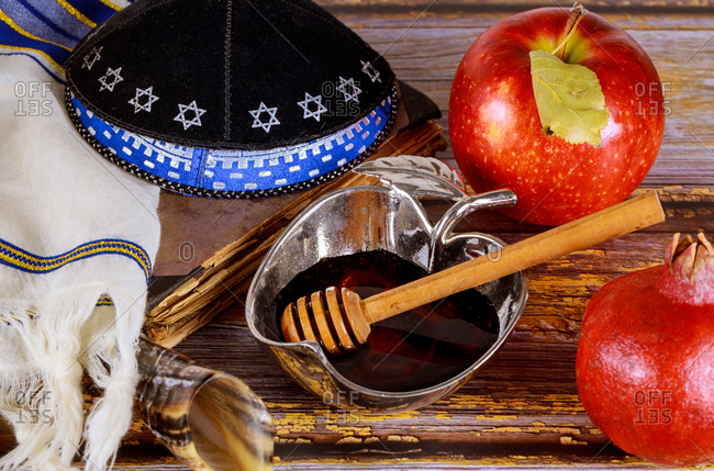 Apple and honey, kosher traditional food of Jewish new year Rosh Hashanah