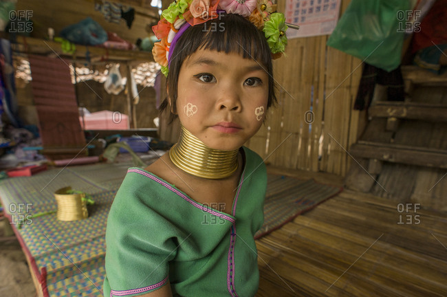 Thailand, Chiang Mai, Chiang Mai - May 20, 2011: Beautiful young girl from longneck karen village