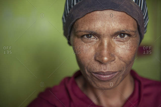 Brazil, State of Pernambuco, Arcoverde - June 30, 2016: Portrait of woman from a quilombo from northeast brazil