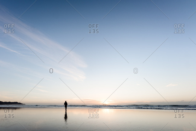 Silhouette person walking on peaceful beach at sunrise