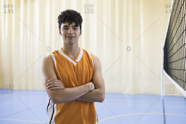 Portrait of volleyball player on a volleyball field