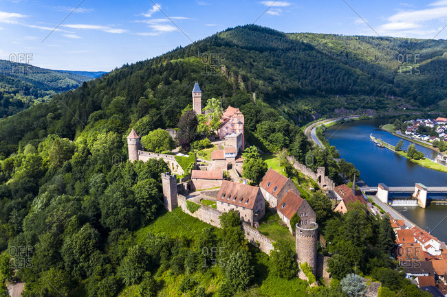 Aerial view of Zwingenberg Castle on mountain by Neckar River- Hesse- Germany