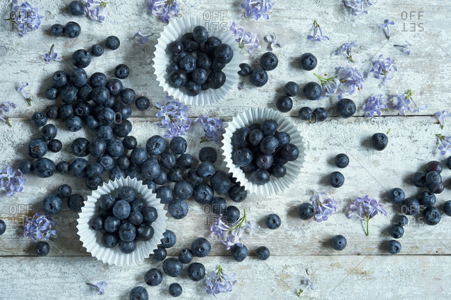 Directly above shot of blueberries in cupcake holders with flowers on wooden table