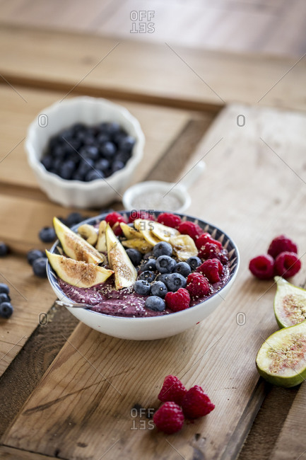High angle view of breakfast served in bowl on table at home