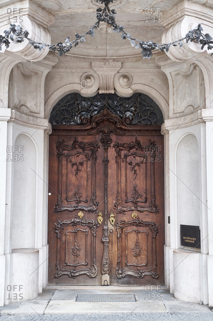 June 16, 2019: Closed doors of old church in Bavaria- Germany