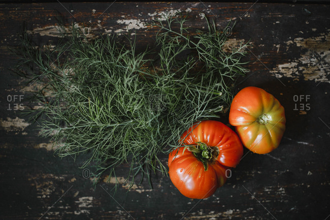 Directly above shot of tomatoes with dill on wooden table