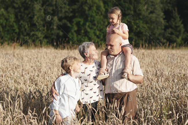 Family portrait of grandparents with their grandchildren in an oat field