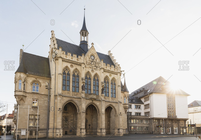 View of town hall against sky in Erfurt- Germany