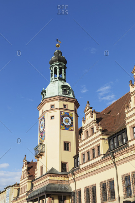March 18, 2019: Low angle view of Town Hall Tower against blue sky in Leipzig- Saxony- Germany