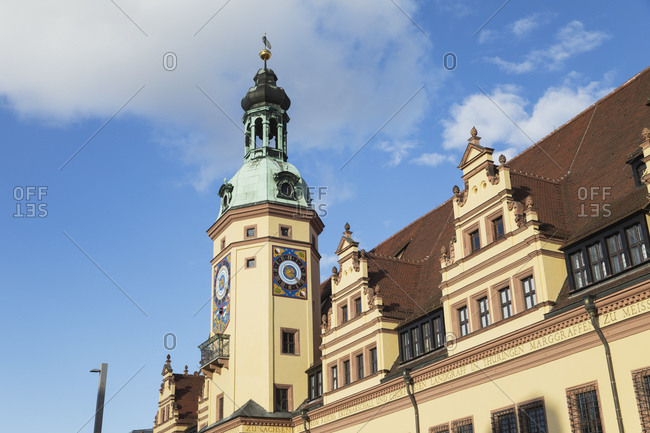 March 18, 2019: Low angle view of Town Hall Tower against blue sky in Leipzig during sunny day- Saxony- Germany