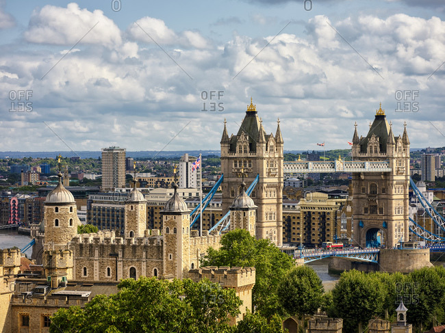 August 6, 2019: High angle view of Tower Bridge with cityscape in background against cloudy sky at London