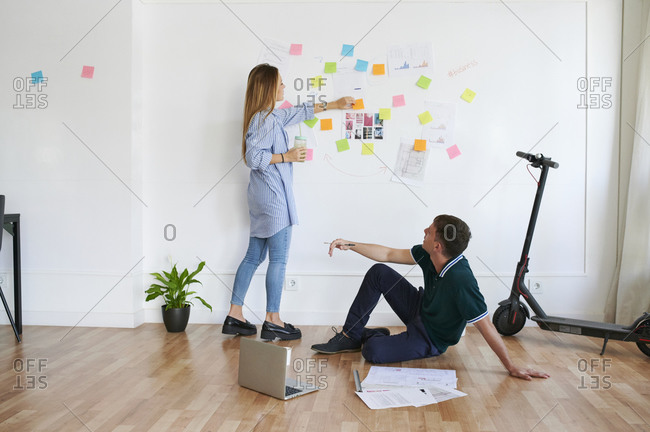 Young business people brainstorming in an office