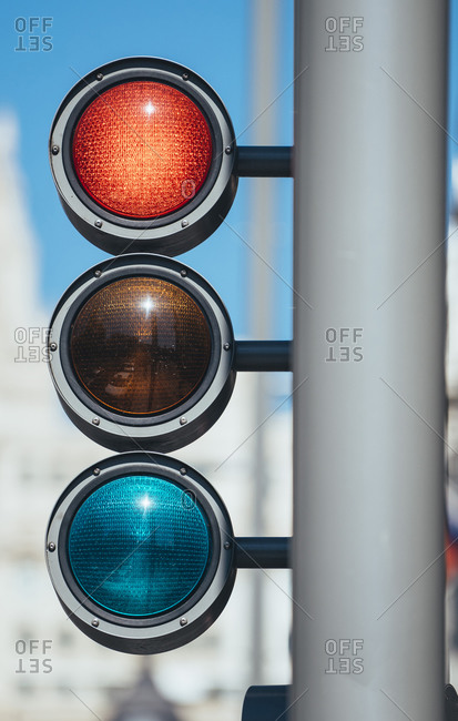 Low angle view of road signal in Madrid- Spain