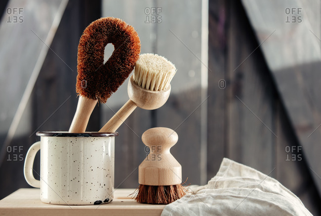 Eco-friendly wooden brushes for washing dishes