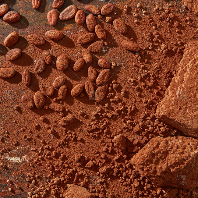 Chocolate ingredients: cocoa solids, cocoa powder and natural beans with copy space