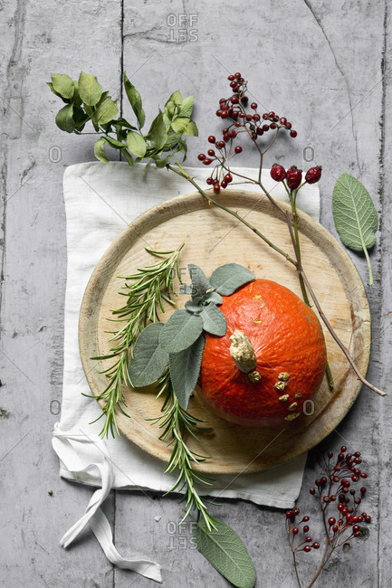 Red kuri squash (Cucurbita maxima)- rosemary- rose hips- sage- napkin and wooden plate