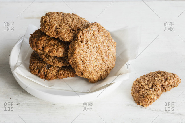 Homemade oatmeal cookies with chocolate