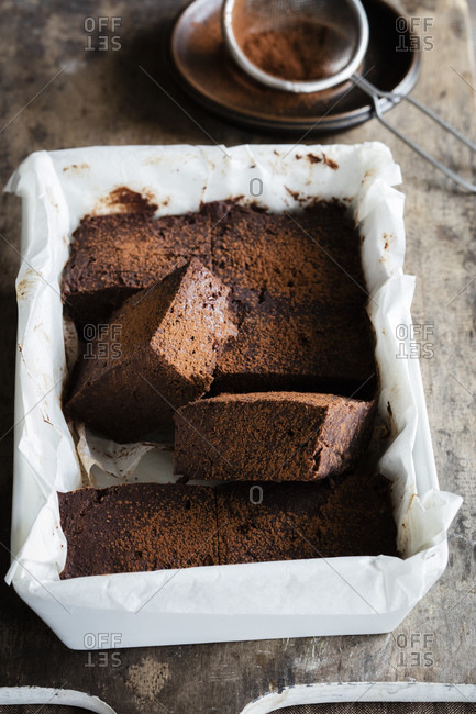 Homemade gluten and sugar free brownies made with teff flour