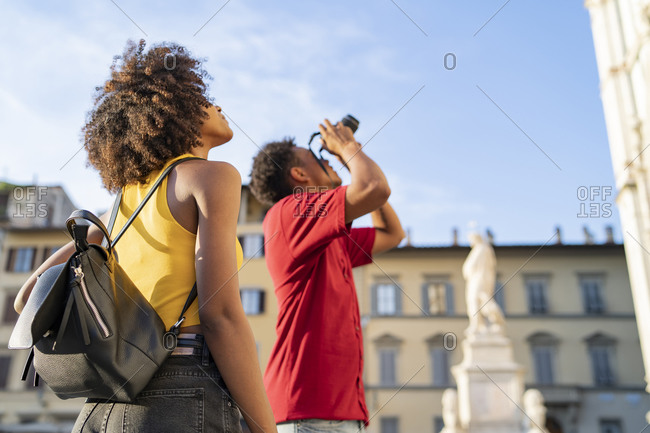 Young tourist couple exploring the city- Florence- Italy