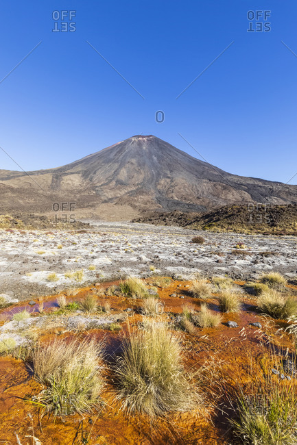 New Zealand- Ruapehu District- Clear sky over Soda Springs and Mount Ngauruhoe volcano