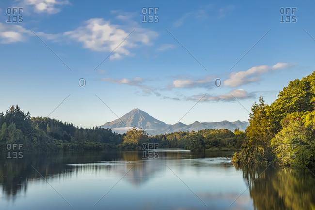 New Zealand- Long exposure of Lake Mangamahoe with Mount Taranaki looming in background