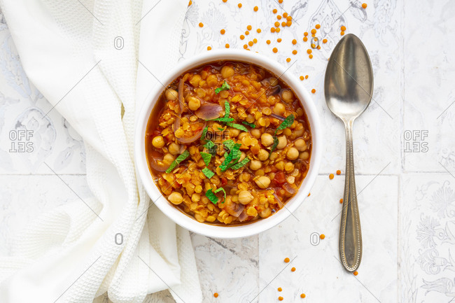 Lentil and chickpea soup (red lentils- chickpeas- tomatoes- red onions- mint)
