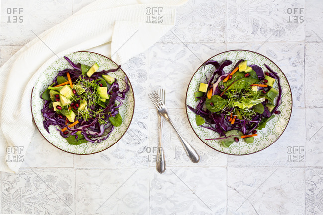 Salad with red cabbage- carrots- lettuce leaves- avocado- pomegranate seeds and cress