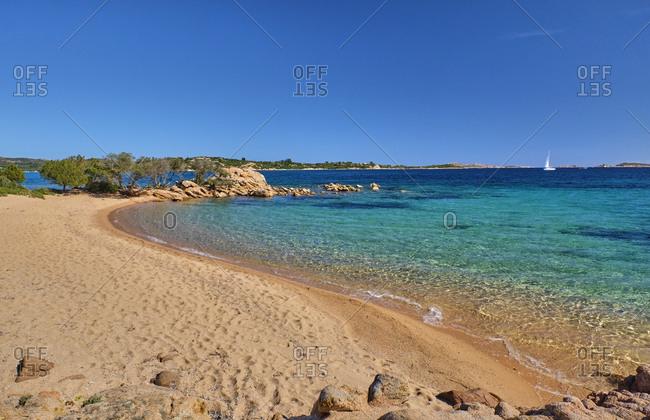 Italy- Province of Sassari- Cala di Volpe- Sandy coastal beach of Costa Smeralda