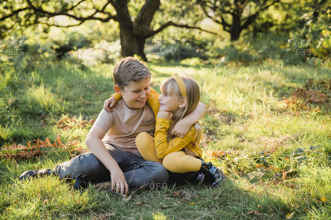 Portrait of happy little girl arm in arm with her older brother on a meadow