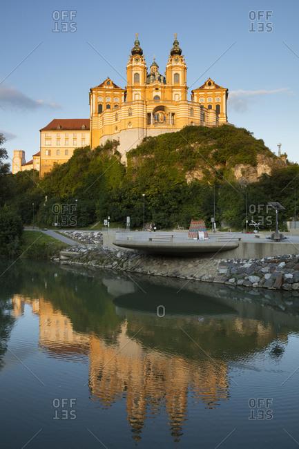 August 15, 2019: Austria- Lower Austria- Melk- Melk Abbey reflecting in Danube River at dusk