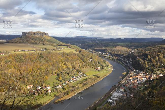 Germany- Saxony- Koenigstein- Saxon Switzerland National Park- Elbe Sandstone Mountains- Table Mountain- Lilienstein and Elbe river