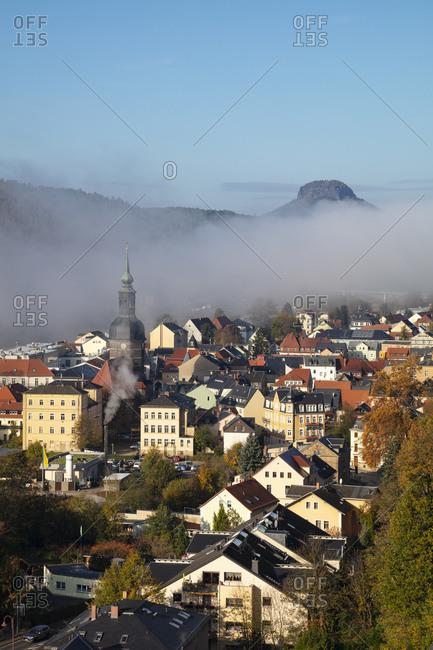 October 28, 2019: Germany- Saxony- Saxon Switzerland- Elbe Sandstone Mountains- Aerial view of Bad Schandau