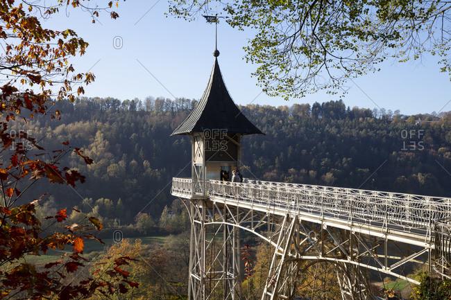 October 28, 2019: Germany- Saxony- Saxon Switzerland- Elbe Sandstone Mountains- Bad Schandau- Historic elevator in landscape