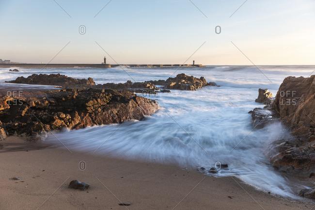 Portugal- Porto District- Porto- Coastal beach of Atlantic Ocean at dusk