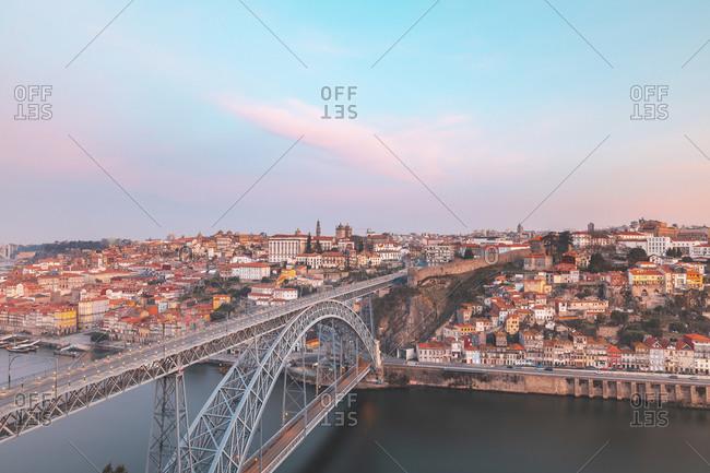 February 22, 2019: Portugal- Porto District- Porto- Aerial view of Dom Luis I Bridge at dawn
