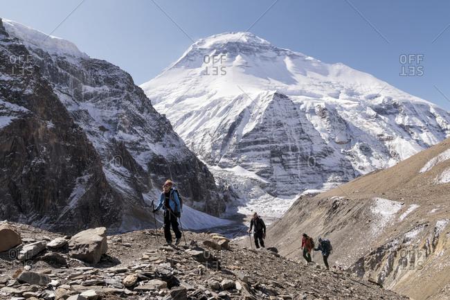 Trekking group at Chonbarden Glacier- Dhaulagiri 1- Dhaulagiri Circuit Trek- Himalaya- Nepal
