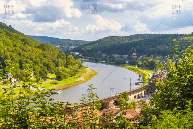 Germany- Saxony- Konigstein- Riverside town and forested hills of Elbe Valley