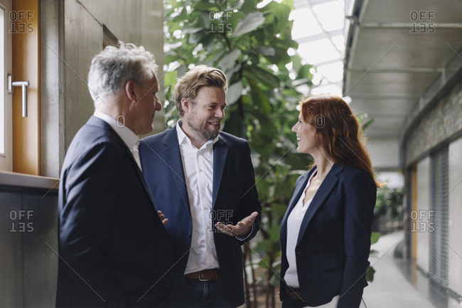 Smiling business people talking in modern office building